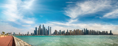 Aerial view of Dubai Marina and Palm Jumeirah - UAE at sunset Royalty Free Stock Photos