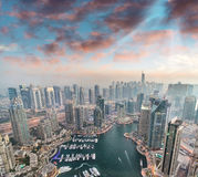 Aerial view of Dubai Marina from a vantage point at sunset Royalty Free Stock Photos