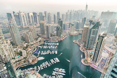 Aerial view of Dubai Marina from a vantage point at sunset Stock Images