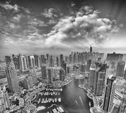Aerial view of Dubai Marina from a vantage point at sunset Stock Photos