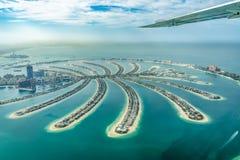 Aerial view of Dubai Palm Jumeirah island, UAE stock photos
