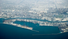 Aerial view of Dubai seaport Stock Photos