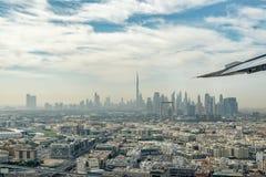 Aerial view of Dubai skyline from plane, United Arab Emirates. Aerial view of Dubai skyline seen from plane, United Arab Emirates royalty free stock photos