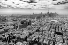 Aerial view of Dubai skyline from plane, United Arab Emirates. Aerial view of Dubai skyline seen from plane, United Arab Emirates stock image