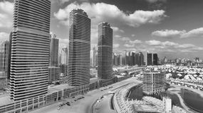 Aerial view of Dubai skyscrapers along Jumeirah Lake Towers Royalty Free Stock Photography