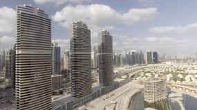 Aerial view of Dubai skyscrapers along Jumeirah Lake Towers Stock Images