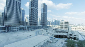Aerial view of Dubai skyscrapers along Jumeirah Lake Towers Stock Photo