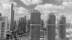 Aerial view of Dubai skyscrapers along Jumeirah Lake Towers Royalty Free Stock Photos