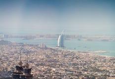 Aerial view of Dubai, UAE. City skyline from high vantage point Royalty Free Stock Photos