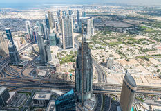 Aerial view of Dubai, UAE. City skyline from high vantage point Royalty Free Stock Photography