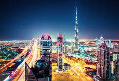 Aerial view of Dubai, United Arab Emirates. Scenic nighttime skyline. Royalty Free Stock Photos