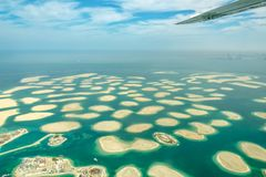 Aerial view of Dubai The World islands, UAE stock photography