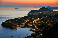 Aerial view of Dubrovnik, Croatia by night Stock Photo