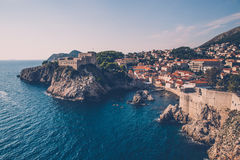 Aerial view of Dubrovnik in Croatia on summer day with blue sky. Historic Dubrovnik on perfect summer day Stock Photography