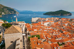 Aerial view of Dubrovnik Old Town from its City Walls royalty free stock images