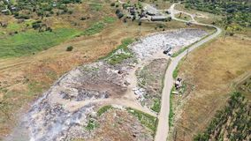 Aerial view of the dump fuming. Environmental problems.  stock video footage