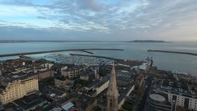 Dun Laoghaire. county Dublin. Ireland. Aerial view. Dun Laoghaire city centre and marina at sunrise. county Dublin. Ireland stock images