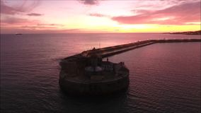 Aerial view. Dun Laoghaire lighthouse. Dublin. Ireland stock footage