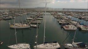 Aerial footage. Dun Laoghaire marina. Dublin. Ireland stock footage