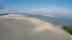 Aerial view of the Dune du Pilat - the largest sand dune in Europe, Arcachon,France stock footage