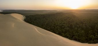 Aerial View Dune of Pilate, France. the largest sandy desert in Europe royalty free stock photos