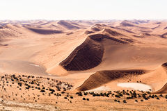 Aerial view of the dunes of sossusvlei. Part of the namib desert, located in namib naukluft park, namibia, africa Royalty Free Stock Photography