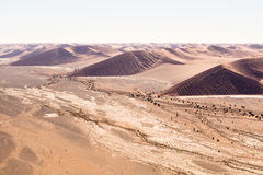 Aerial view of the dunes of sossusvlei. Part of the namib desert, located in namib naukluft park, namibia, africa Royalty Free Stock Images