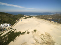 Aerial view Dunes in sunny day - Joaquina beach - Florianopolis - Santa Catarina - Brazil. July 2017. Aerial view Dunes in sunny day - Joaquina beach royalty free stock photography