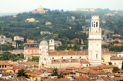 Aerial view of the Duomo di Verona cathedral.  royalty free stock images