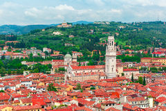 Aerial view of Duomo and red roofs, Verona, Italy Royalty Free Stock Photo