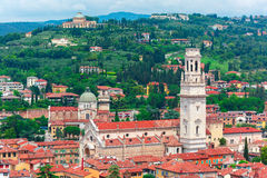 Aerial view of Duomo and red roofs, Verona, Italy Royalty Free Stock Photos