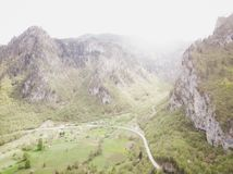 Aerial view on Durmitor mountains, National Park, Mediterranean, Montenegro, Balkans, Europe. Instagram picture. The road near the. Town in the mountains nature stock photos