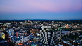 View of Downtown Portland Oregon during Dusk stock images
