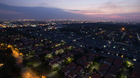 Aerial view at dusk of home village in bangkok thailand use for Royalty Free Stock Image