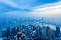 Aerial view of the dusk scene in shanghai Stock Photos