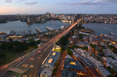 Aerial view at dusk of Sydney Harbour Bridge Stock Image