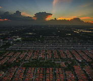 Aerial view of dusky sky and home village landscape in bangkok t Royalty Free Stock Photography
