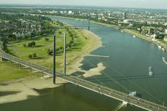 Aerial view of Dusseldorf. View of the city of Dusseldorf, Germany, Europe from the air Stock Photography