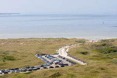 Aerial view of a Dutch beach withn a parking area Stock Images