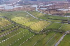 Aerial view Dutch countryside and fields and national park Weerribben stock photo