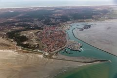Aerial view Dutch harbor and Village Terschelling stock image