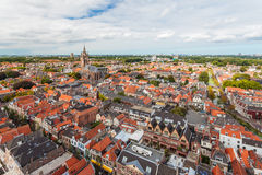 Aerial view of the Dutch historic city Delft Royalty Free Stock Image