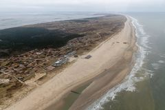 Aerial view Dutch island Vlieland with beach along North Sea royalty free stock image