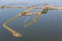 Aerial view Dutch sluices Kornwerderzand between IJsselmeer and Wadden Sea stock photos