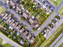 Aerial view of Dutch street with white houses Royalty Free Stock Images