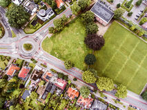 Aerial view of Dutch town, builidings, park, roundabout Royalty Free Stock Photos