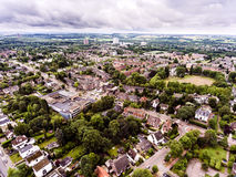 Aerial view of Dutch town, builidings, park, roundabout Royalty Free Stock Image
