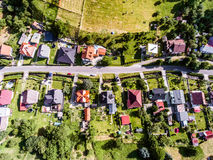 Aerial view of Dutch village, houses with gardens, green park. Aerial view of Dutch village, street, houses with gardens, green park with trees stock image