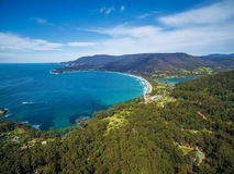 Aerial view of Eaglehawk Neck, Tasmania Royalty Free Stock Photos