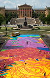 An aerial view of eakins oval and Philadelphia art museum Royalty Free Stock Photo